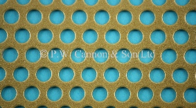 Antique Gold 6.35mm Round Hole Powder Coated Metal Sheet Grilles for use in Radiator Covers, Cabinets and as Screening Panels