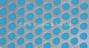 Silver 6.35mm Round Hole Powder Coated Metal Sheet Grilles for use in Radiator Covers, Cabinets and as Screening Panels