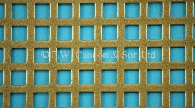 P.W. Cannon & Son Ltd - Antique Gold 6mm Square Hole Powder Coated Metal Sheets - Grilles for use in Radiator Covers, Cabinets and as Screening Panels