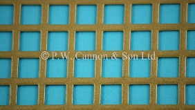 P.W. Cannon & Son Ltd - Antique Gold 10mm Square Hole Powder Coated Metal Sheets - Grilles for use in Radiator Covers, Cabinets and as Screening Panels
