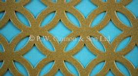 Antique Gold Fancy Ring Powder Coated Metal Sheet - Grilles for use in Radiator Covers, Cabinets and as Screening Panels
