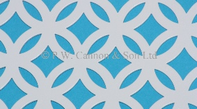 White Pattern No 14 Fancy Ring Powder Coated Metal Sheets - Grilles for use in Radiator Covers, Cabinets and as Screening Panels