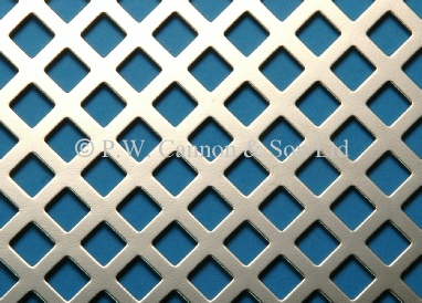 7.5mm Diagonal Hole Nickel Plated Sheet - Grilles for use in radiator covers, cabinets and as screening panels