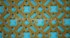 P.W. Cannon & Son Ltd - Antique Gold Pattern No 59 Powder Coated Metal Sheets - Grilles for use in Radiator Covers, Cabinets and as Screening Panels